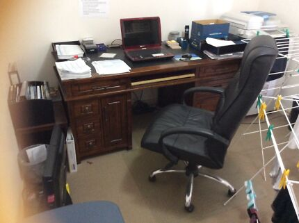 Quality solid timber Office desk / Banker style - *free chair