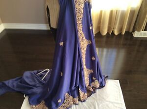 Saree purple frabric satin excellent condition.
