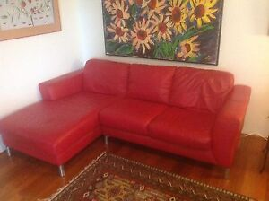 Chilli red 3 seater sofa from Nick Scali Monterey Rockdale Area Preview