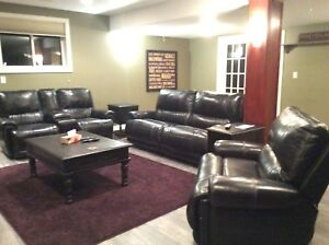 3 piece all leather reclining couch, love seat and chair