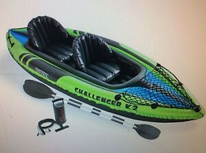 Intex K2 Challenger 2 man inflatable canoe with oars Pelican Waters Caloundra Area Preview