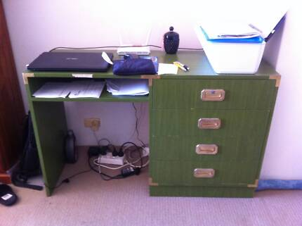 COMPUTER SOLID WOODEN 4 DRAWER BRASS HANDLE DESK Annandale Leichhardt Area Preview