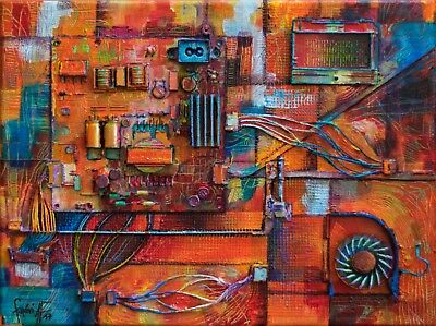 Electric Orange - Abstract Recycled Art 3D Relief Acrylic Painting
