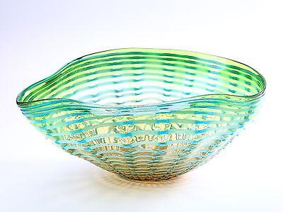 "New 15"" Hand Blown Glass Art Bowl Blue Green Ruffle Decorative Abstract"