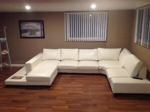 Modern white leather sectional SOLD