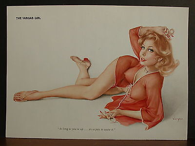 Alberto Vargas Sexy Page Print As Long As You're Up, It's a Pity To Waste It