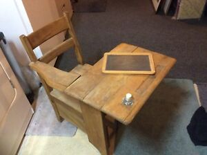 1940's student desk + inkwell REDUCED