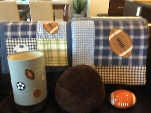 Twin quilt sets. Matching side Lap , football pillow ,