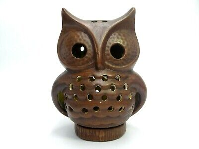 BROWN CERAMIC OWL CANDLE HOLDER LANTERN TEA LIGHT VOTIVE HAND PAINTED