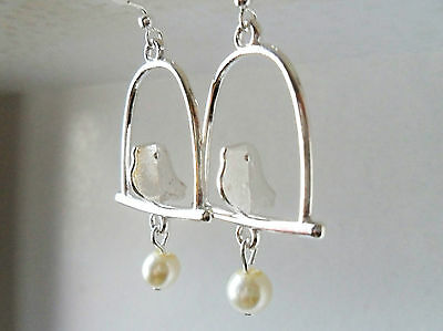 Birdcage Earrings, Vintage Style Lovebird Cute Kitsch Gift silver plated bird UK