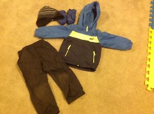4T jacket, splash pants, boots, hat and mitts