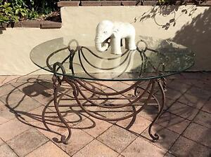 VINTAGE WROUGHT IRON AND GLASS COFFEE TABLE/OUTDOOR TABLE Seaforth Manly Area Preview