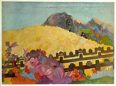 "GAUGUIN ORIGINAL VINTAGE 1972 AUTHENTIC LITHOGRAPH PRINT ""SACRED MOUNTAIN"" 1892"