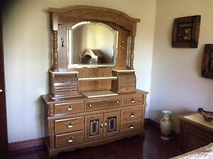 Dresser with mirror, side dressers 2 and headboard