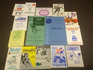 Cédules anciennes schedules hockey NHL WHA vintage carte