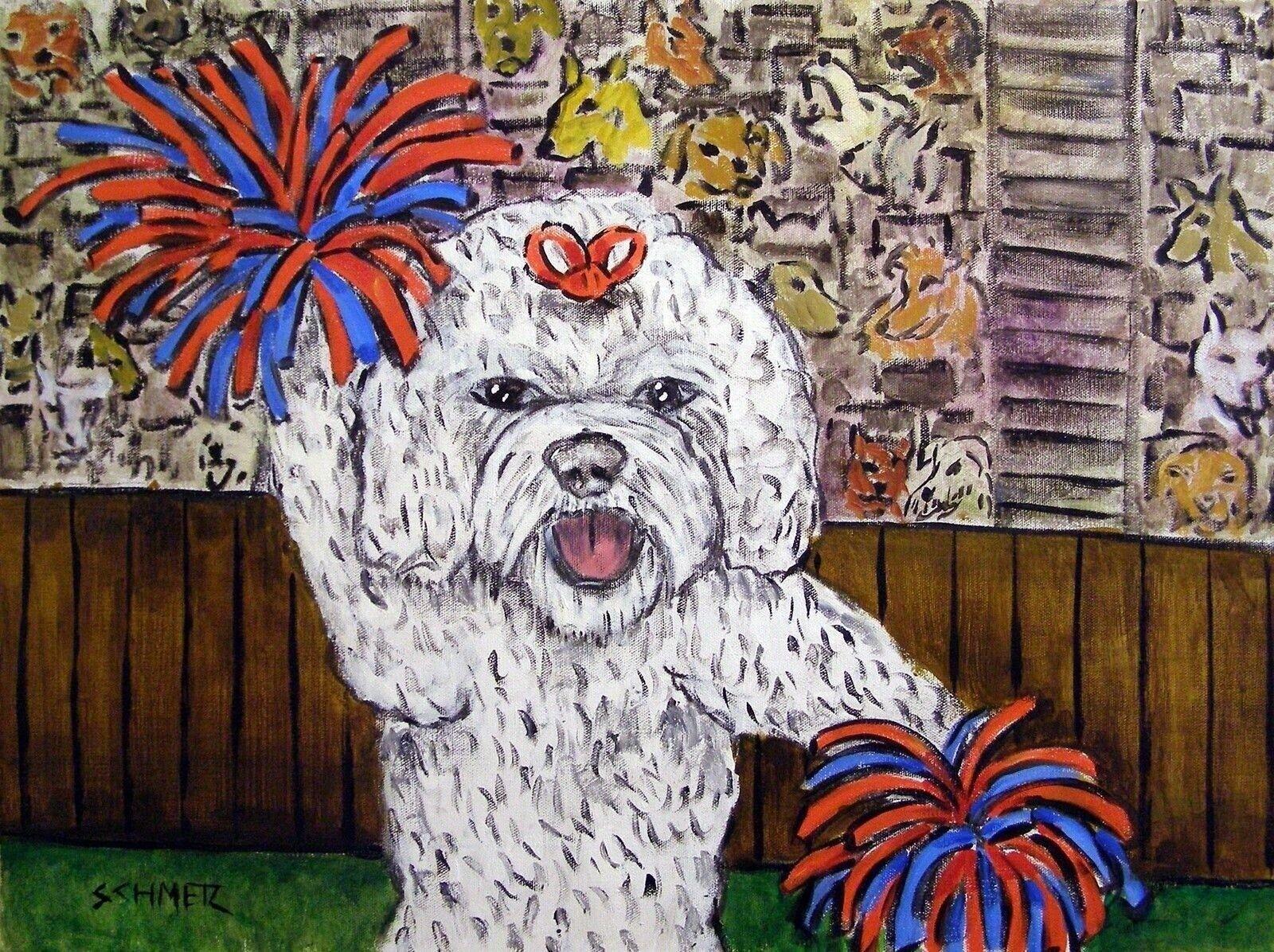 BULLDOG DOG art PRINT abstract folk pop ART JSCHMETZ  11x14 computer modern