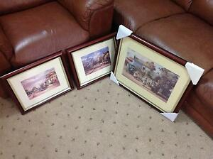 3 x Darcy Doyle prints in red wood frames Tarneit Wyndham Area Preview