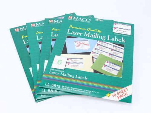 Maco Laser Mailing Labels LL-5815 Self Adhesive Lot of 4