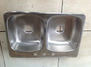 "Wessan double bowl top mount stainless steel sink 32""x21""x8"""