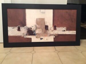 Black wood frame with brown and beige abstract painting
