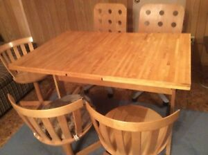 Table & 7 chairs solid birch