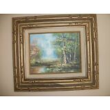 Vintage  Painting  Oil on canvas   Landscape  Framed  signed  by SCHILLER