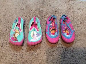 Girls size 8 water shoes, sandals and rainboots