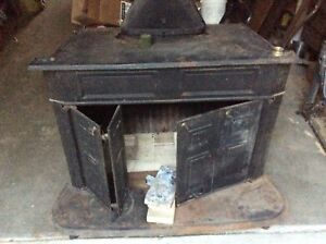 Vintage, Cast Iron Franklin Wood Burning Stove