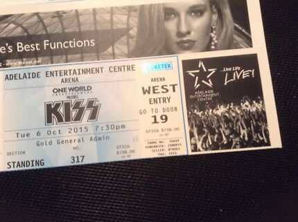 KISS ticket, Adelaide concert, 6 October. Aberfoyle Park Morphett Vale Area Preview
