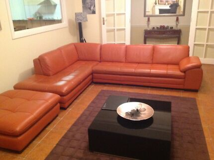 Mia 3 Seater Leather  Lounge Bossley Park Fairfield Area Preview