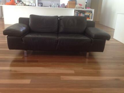 Gorgeous Natuzzi Brown Leather Couches x 2