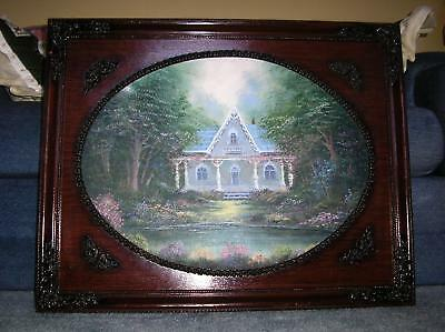 GARDEN BOTANICAL NATURE TREES FLOWERS BLUE HOUSE VICTORIAN STYLE OIL PAINTING