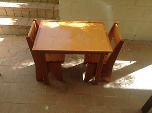 Kids Wooden table and 2 chairs Allawah Kogarah Area Preview