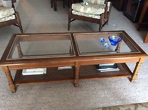 Timber and rattan coffee table with glass top Eastwood Ryde Area Preview