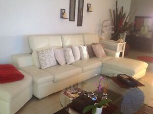 Leather cream chaise 3 pieces Campsie Canterbury Area Preview