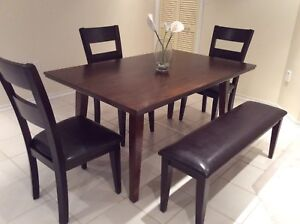 Dining table , bench and 3 chairs