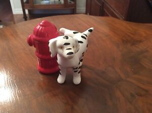 Dalmatian and fire hydrant Salt and pepper shakers
