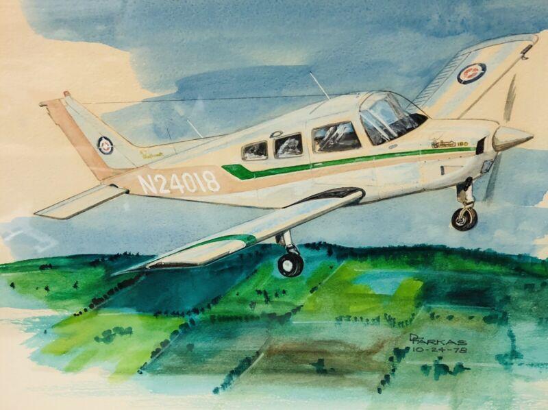 Aviation Art Beechcraft Sundowner 180 Orig Painting Drawing Watercolor Marker