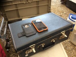 Small blue vintage over night suitcase