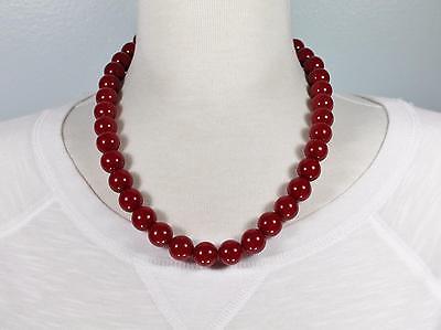 Burgundy Dark Red chunky beaded necklace 18