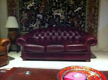 CLASSIC CHESTERFIELD 1 x 3 SEATER 100% LEATHER ROLLED ARM Balhannah Adelaide Hills Preview