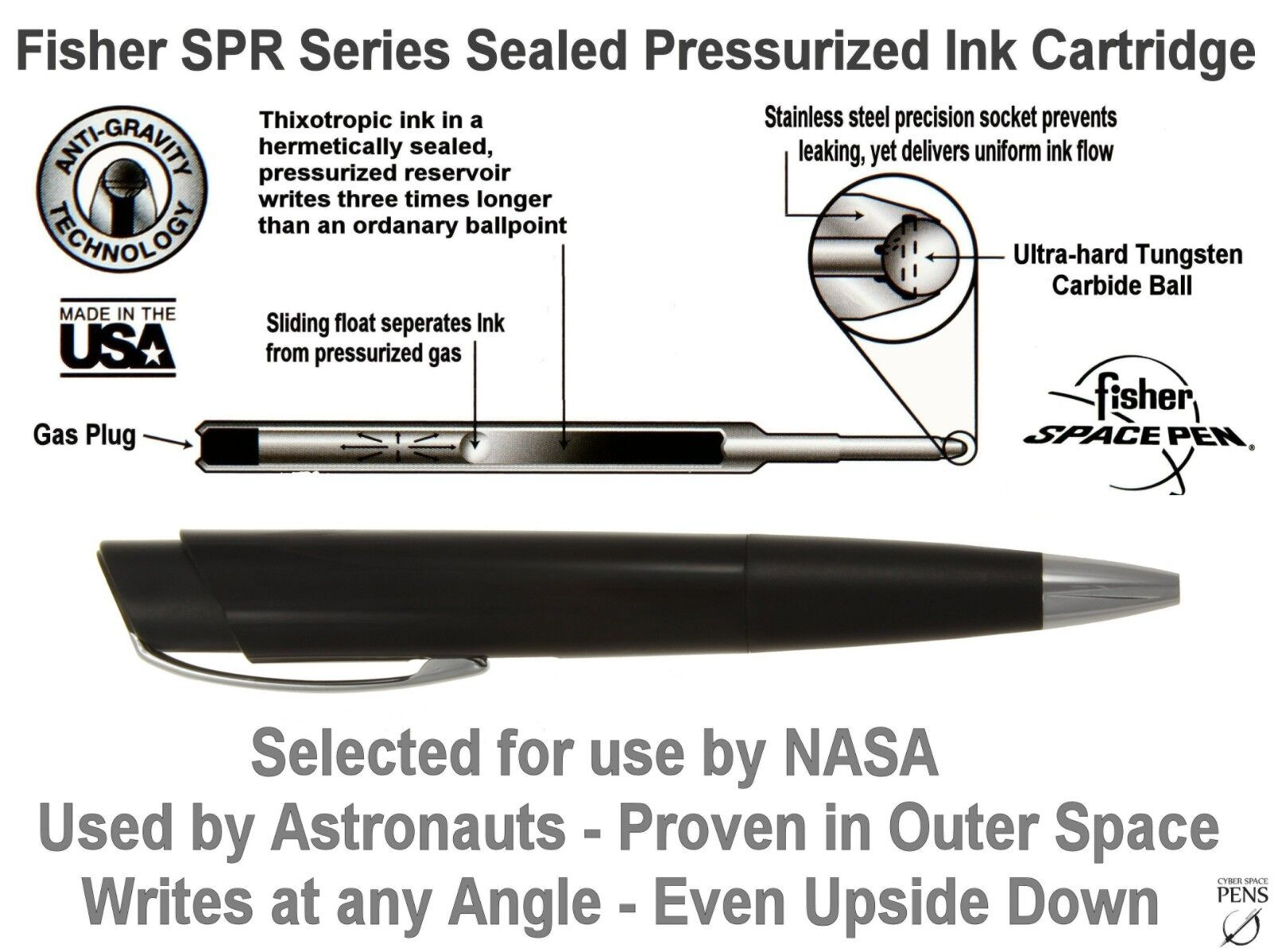 Writes Even Under Water At Any Angle! Fisher Trekker Space Pen Tactical