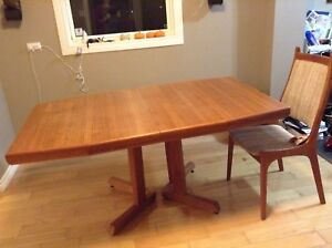 Mid century modern dining room table and chairs, teak