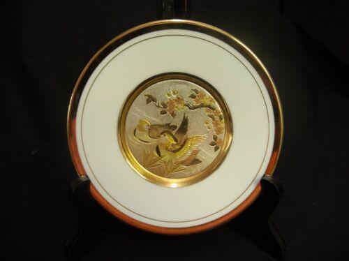 "💲 ART OF CHOKIN ART MADE IN JAPAN GOLD RIMMED PLATE FEATURING DUCKS 6"" ACROSS"