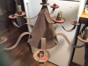 Hand forged tin lamp vintage