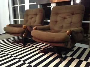 Retro-Vintage Parker-Eames Swivel Rocker Armchairs-Can Deliver Arncliffe Rockdale Area Preview