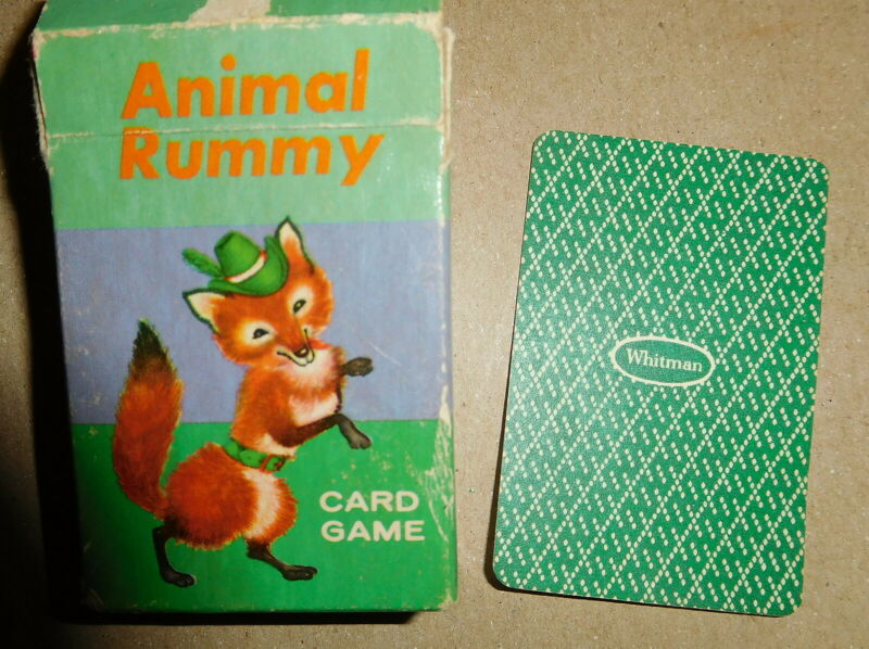 vintage Animal Rummy Mini Card Game with box whitman no 4 made in USA