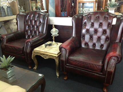 Chesterfield leather wingback single armchairs burgundy
