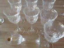 Crystal 8 big glasses goblets. Never used. Gold sticker 'Capri cr Miranda Sutherland Area Preview