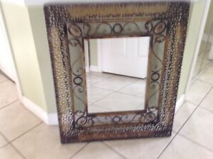 Metal frame decorative mirror